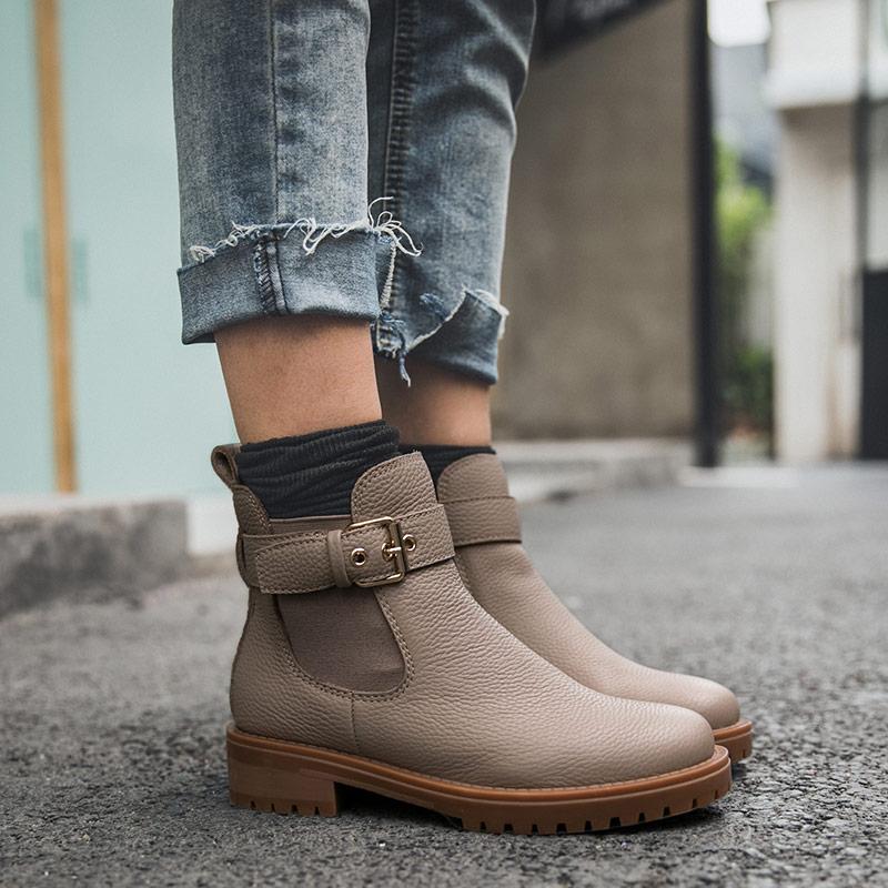 BeauToday Chelsea bottes femmes véritable cuir de vache boucle détachable Top qualité hiver dame cheville chaussures à la main 03261-in Bottines from Chaussures    3