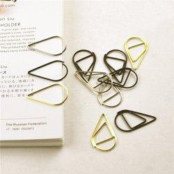 12 unidades/pacote 6 cores breve estilo waterdrop em forma de clipe de papel metal bookmark papelaria escola material escritório escolar papelaria