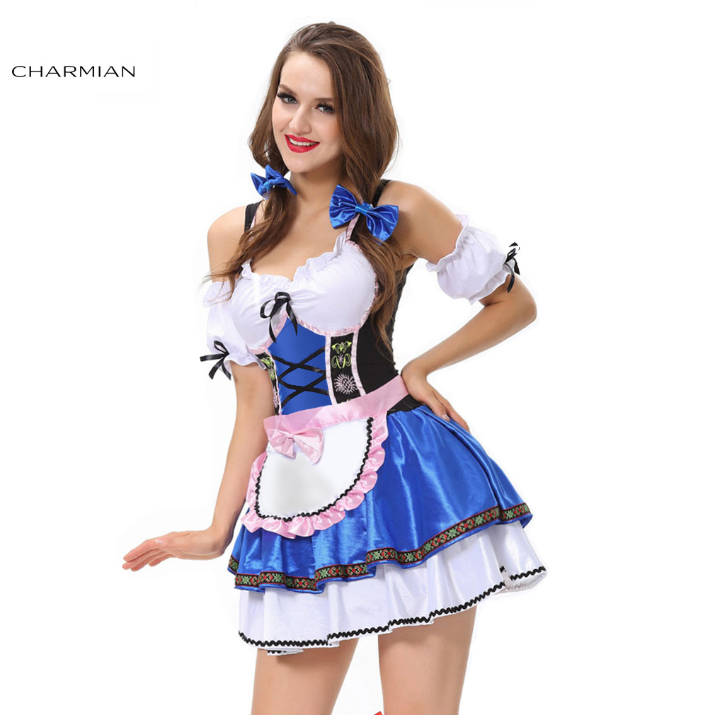 Imported From Abroad Charmian Women's Maid German Beer Girl Cosplay Costume Fancy Halloween Carnival Oktoberfest Dress Fantasias Feminina Para Festa
