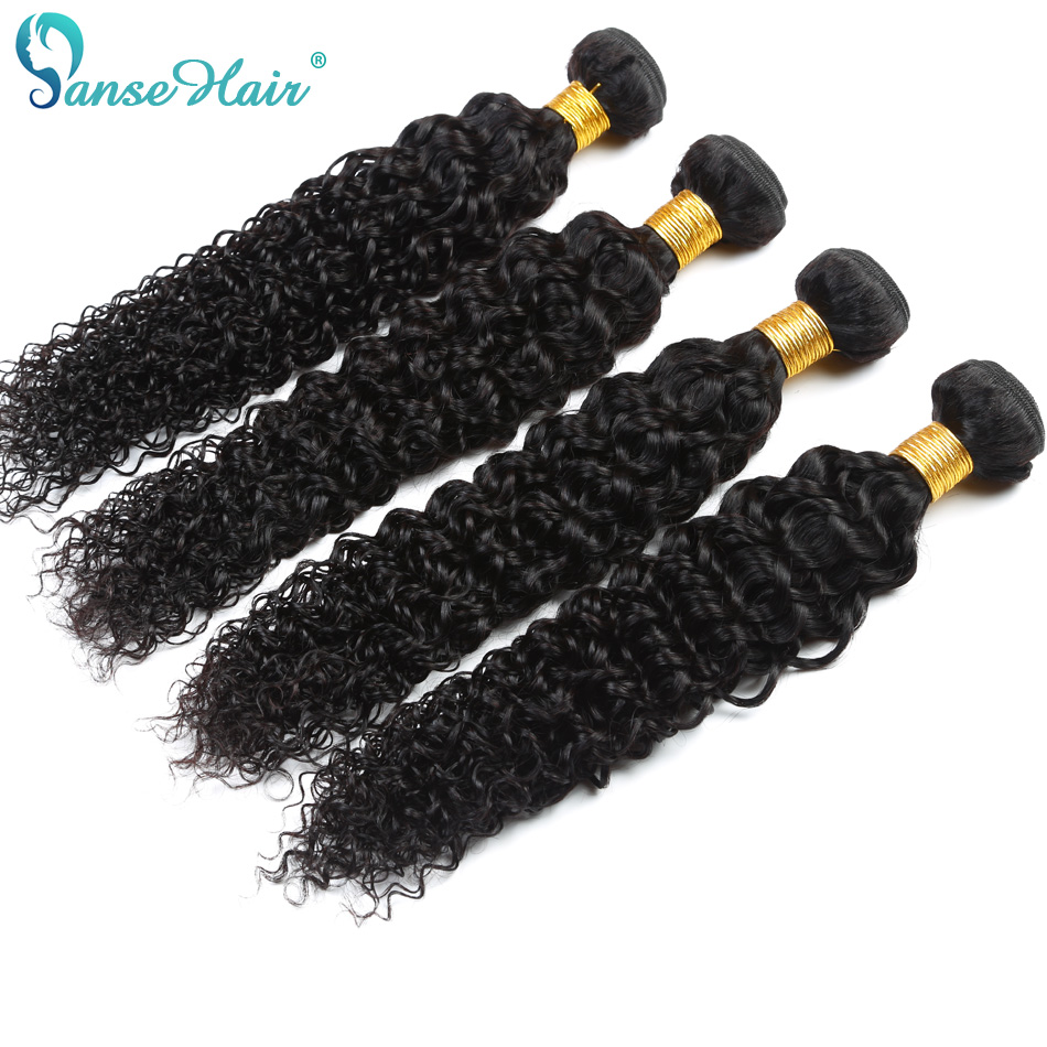Brazilian Hair Kinky Curly Panse Hair 4 Bundles Per Lot Non Remy - Menneskehår (sort)
