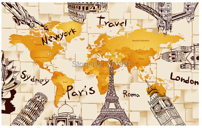 Free shipping custom creative modern 3d architectural world map free shipping custom creative modern 3d architectural world map mural sofa bedroom tv backdrop wallpaper in wallpapers from home improvement on gumiabroncs Choice Image