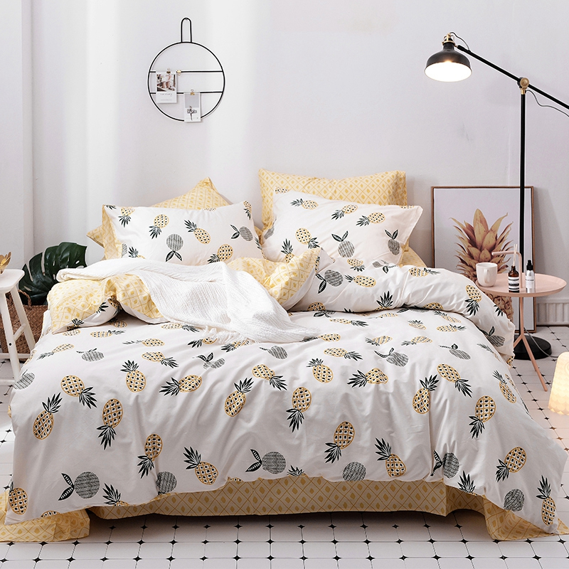 spring and summer 100 cotton pineapple duvet cover set twin queen king size bedding sets yellow. Black Bedroom Furniture Sets. Home Design Ideas