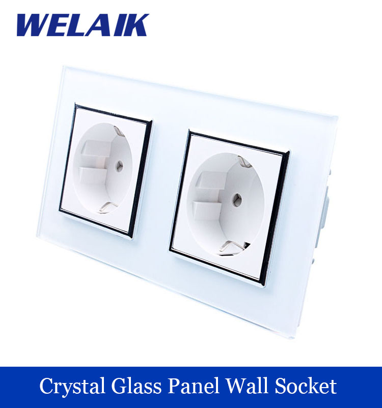 WELAIK  Glass Panel Wall Socket Wall Outlet White Black European Standard Power Socket AC110~250V A28E8EW/B holographic nail foils all kinds snowflakes pattern diy nail art transfer decals manicure tools gl615