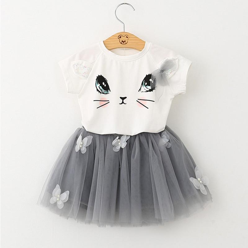 Girls 2018 Summer New Baby Girls Clothing Sets Fashion Style Cartoon Kitten Printed T-Shirts+Net Veil Dress 2Pcs Girls Clothes 1