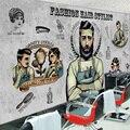 Custom large-scale European fashion creative personality hand-painted cement brick theme wallpaper mural barber shop salon salon