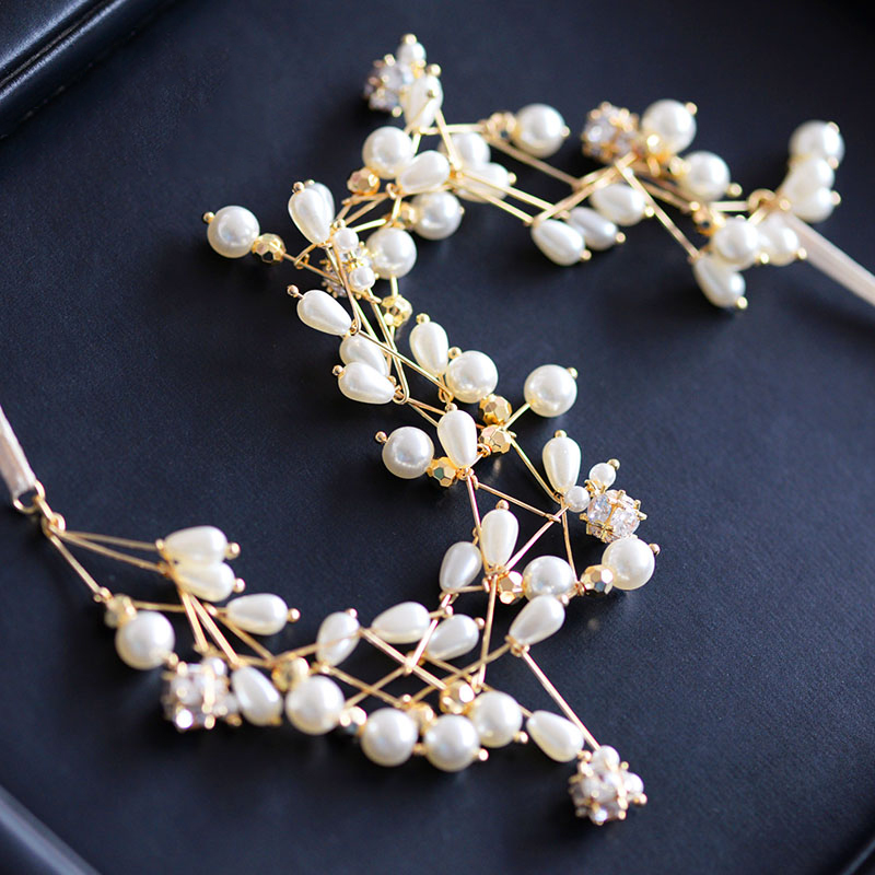 Himstory Free Bending Handmade Pearl Soft Hairband Wedding Gold Fashion Bridal Hair Accessories Party Evening Hairwear in Hair Jewelry from Jewelry Accessories