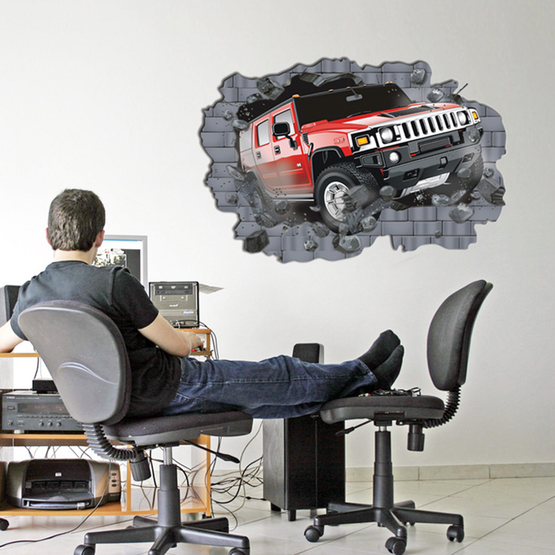 3D Car Wall Brick Pattern Sticker Large Self-adhesive Wall Sticker For Office 70*100cm Poster Home Decor Living Room Art Mural