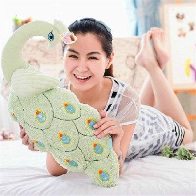 Grand 80 cm vert paon peluche jouet doux oreiller cadeau d'anniversaire b0569