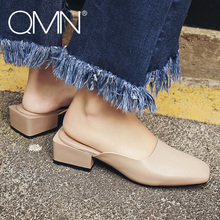 QMN women genuine leather slippers Women Retro Square Toe Block Heels Mules Slip On Summer Casual Shoes Woman Leather Slides