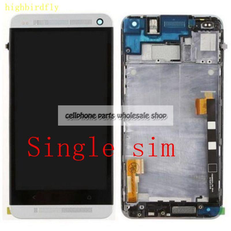 Highbirdfly Pour Htc Un M7 802D 802 W Lcd Écran Avec écran Tactile En Verre DIgitizer + Cadre Assemblage Simples ou double sim Remplacement