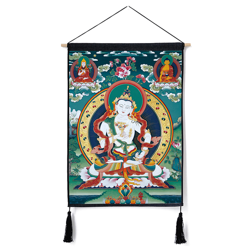 Image 4 - Traditional Thanka Beautiful Buddhist Scroll Painting Home Decor Wall Hanging Tapestry Cotton Linen Scroll Painting with Tassels-in Painting & Calligraphy from Home & Garden