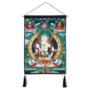 Image 4 - Traditional Thanka Beautiful Buddhist Scroll Painting Home Decor Wall Hanging Tapestry Cotton Linen Scroll Painting with Tassels