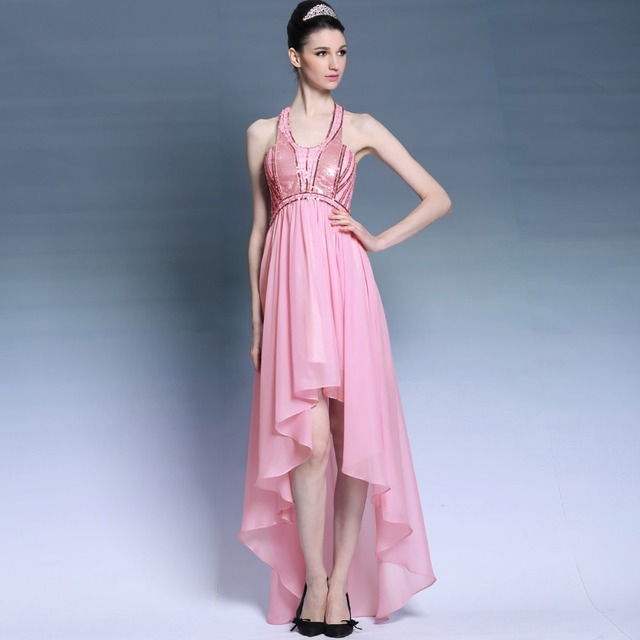 Halter Neck Sequin Chiffon High Low Prom Dress 2017 New Pink Prom ...