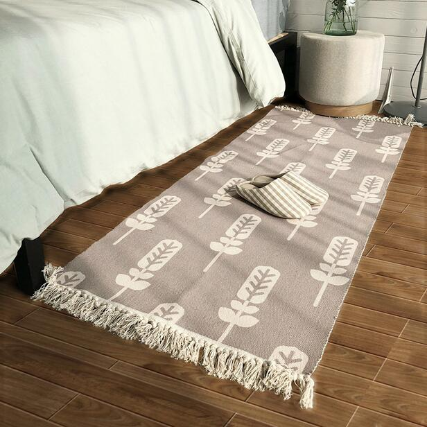 Nordic Handmade Cotton Bedside Carpet 70 160cm Long Size Rug for kitchen bathroom ground mat cloakroom