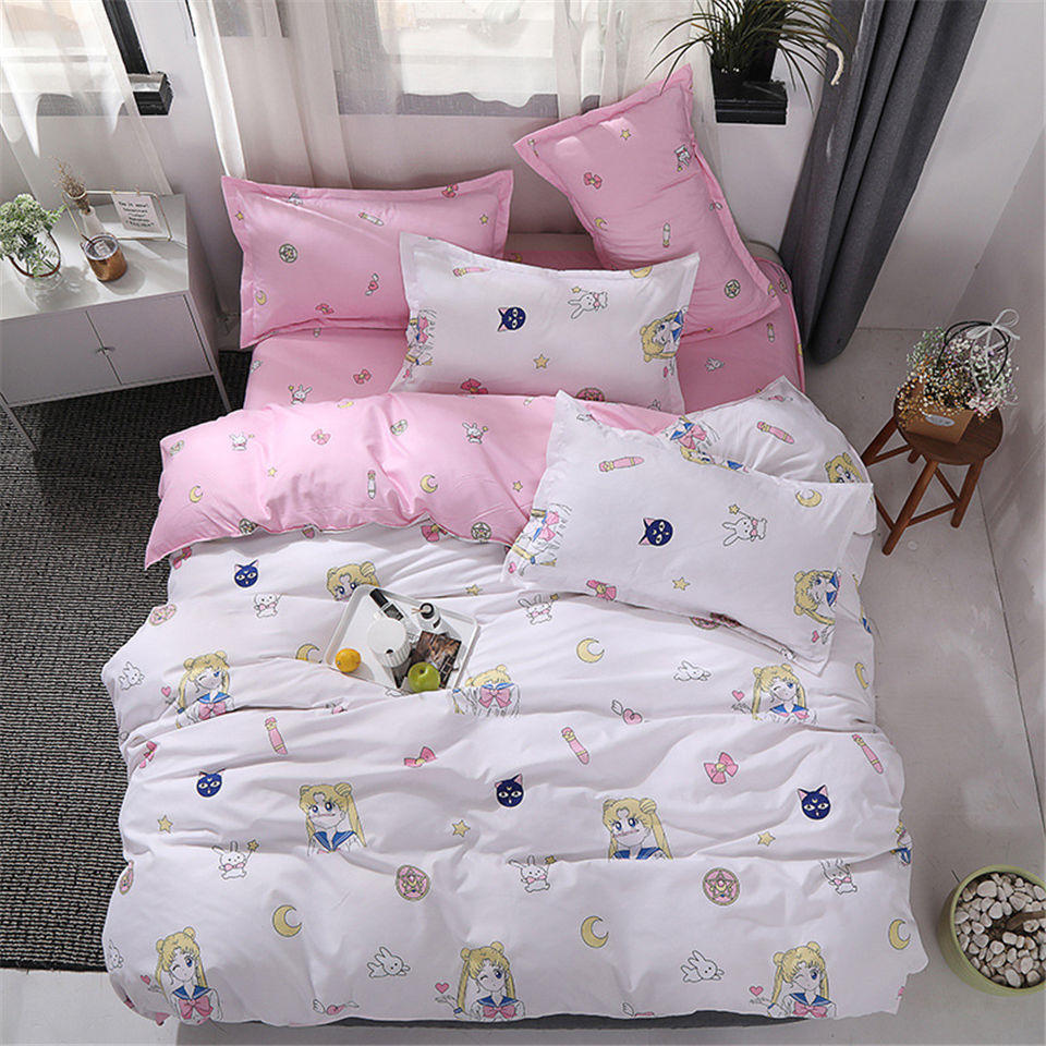 Bedding-Sets Quilt-Cover-Set Background Flat-Sheets Dinosaur Sailor Moon Anime Pink Heart
