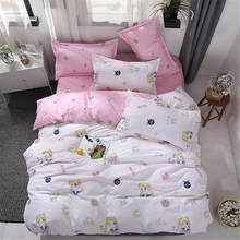 Sailor Moon Bed Covers Flat Sheets Bedding Sets Anime Pink Heart Blue Background Girls Dinosaur Quilt Cover Set Home(China)