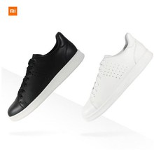 Original Xiaomi FreeTie Leather Skateboard Shoes Comfortable Anti-slip Fashion Leisure Support Mijia Smart Chip Drop ship