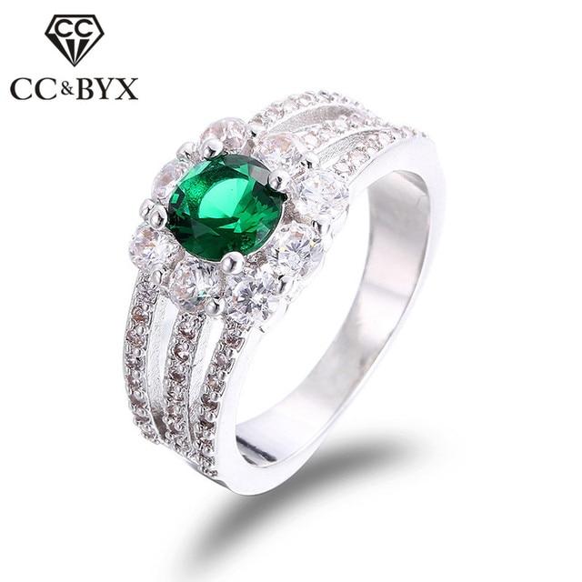 Aliança de casamento ouro branco cor verde anel de cristal do sexo feminino  jóias vintage anéis 298d247eb9