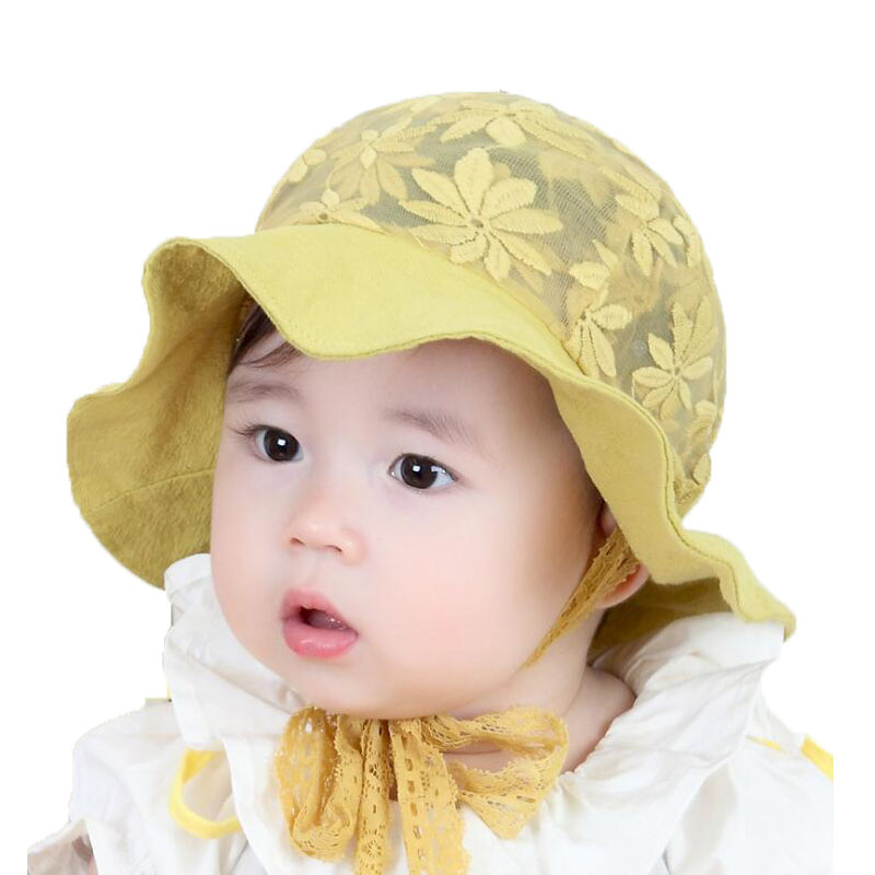 2018 Girls baby Mesh Dome Bucket Hats Child Kids Lace Flower Design wave Brim Fisherma Cap Summer Sun Protective Hat MZ5717