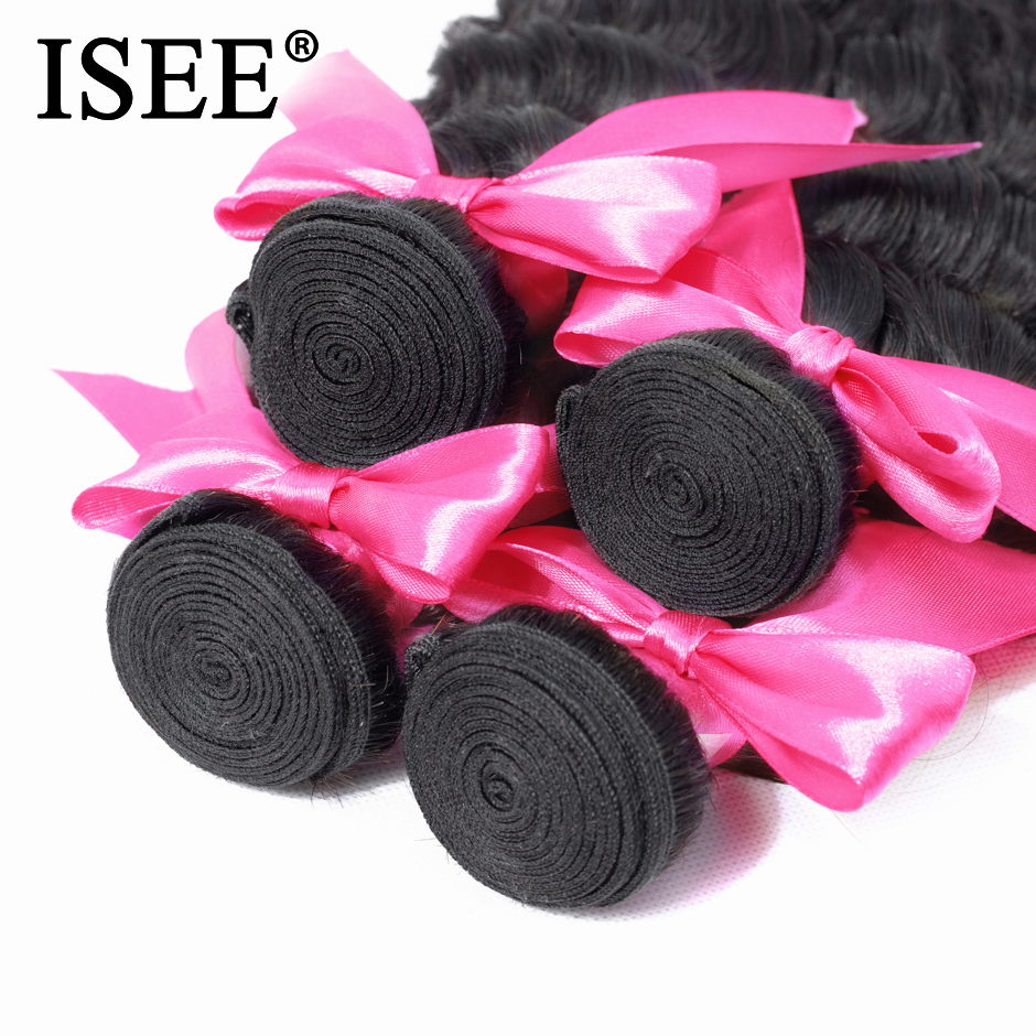 Image 4 - ISEE HAIR Brazilian Loose Deep Bundles With Closure 100% Remy Human Hair Bundles With Closure 3/4 Bundles Hair With Closure-in 3/4 Bundles with Closure from Hair Extensions & Wigs