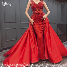 Lisong Fabulous Red Beading Dubai Middle East Evening Prom