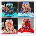 Женщин роскошные большой шелковый шарф женские летние солнцезащитный крем шаль девушки цветок печати атласный шарф пашмины 90*90 см