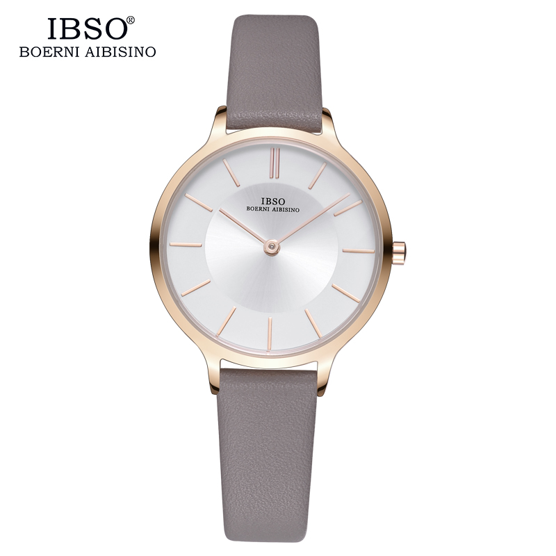 IBSO Luxury Women Watch Ultra-Thin Dial fashion color Leather Strap Fashion Blue Quartz Watch Women Soft Watch band Montre Femme sanda fashion ultra thin dial watch men and women leather strap women quartz wristwatches montre femme clock women couple watch page page 2