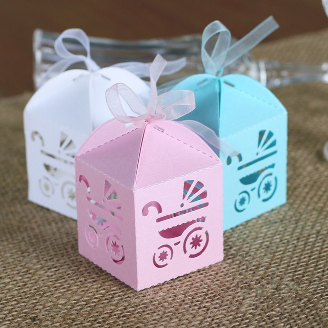 50pcs Baby Carriage Laser Cut Candy Box Gift Sweet Boxes Girl Boy Shower 1st Birthday Table Decoration Party Supplies