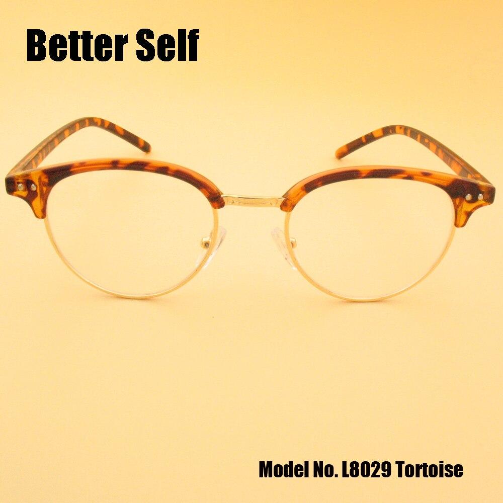 Full Rim Fashion Optical Better Self L8029 PC Metal Stylové brýle na oči Myopie Retro brýle