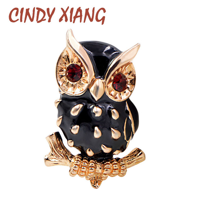 Cindy Xiang Hitam Enamel Burung Hantu Bros untuk Wanita Merah Mata Hewan Bros Pin Musim Panas Gaya Baru Burung Fashion Perhiasan Tinggi kualitas