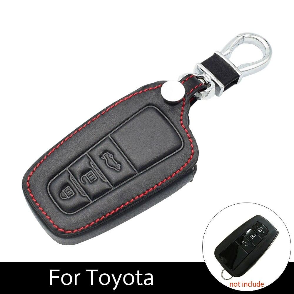 ATOBABI 3 кнопки кожаные футляры для ключей брелок Обложка для Toyota Camry 2017 2018 CHR Prius Corolla RAV4 Smart ключи стайлинга автомобилей