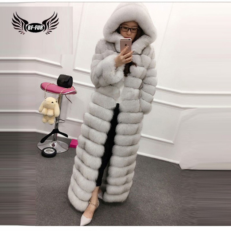 Abrigo de piel de zorro Real 100% de lujo de BFFUR elegante de cuero genuino 130cm de largo 6XL de talla grande abrigo de invierno de las mujeres-in piel real from Ropa de mujer    1