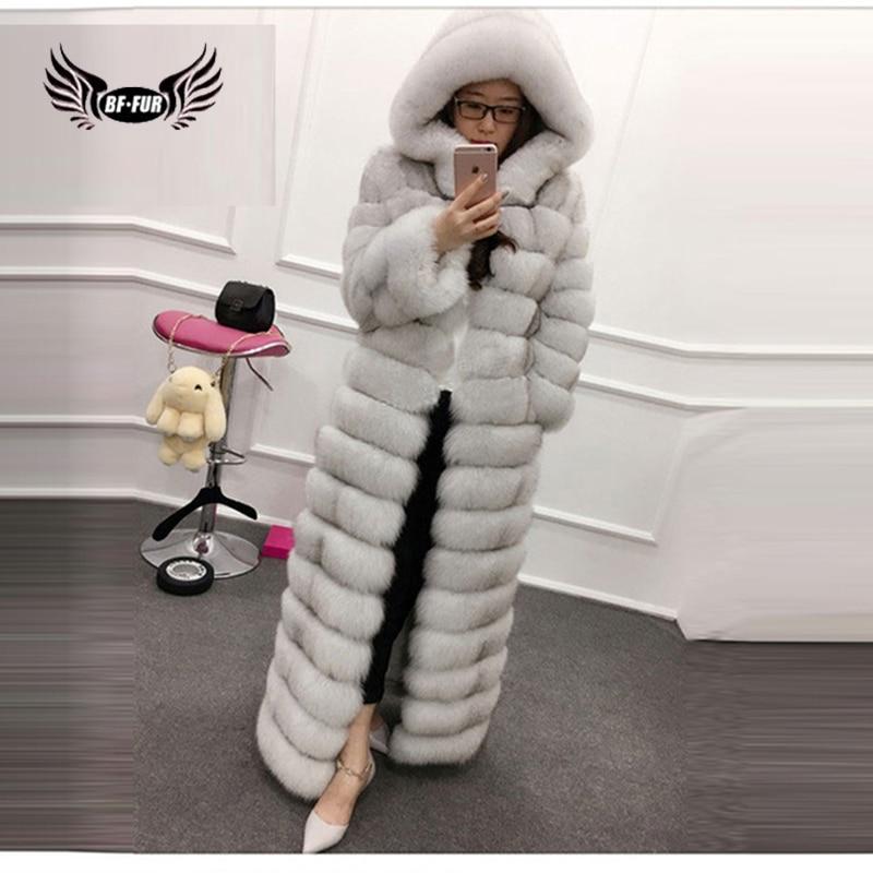 BFFUR Real lujo de piel de Fox 100% moda femenina elegante cuero genuino 130 cm largo 6XL más capa del tamaño mujeres abrigo de invierno