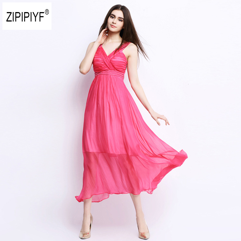 Sexy 100% silk summer dress Strap v neck high waist Rivet beach dresses women 2016 backless Fit and Flare Party dress B1267