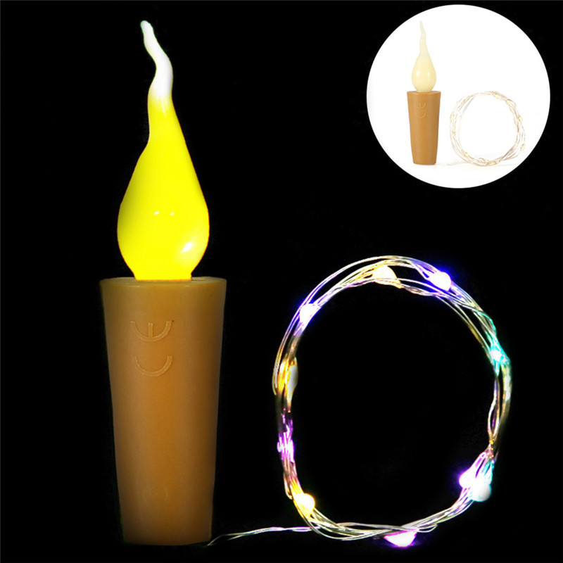 2M LED String Lights Led Candle Silver Wire Fairy Garland Bottle Stopper For Glass Craft Wedding Christmas New Year Decoration