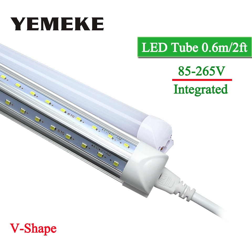 1pcs Super Bright LED Tube T8 570mm 20W V-Shape 2 Feet Integrated LED BulbsTube Light AC85-265V 96LED SMD2835 2000lm CE ROHS цена