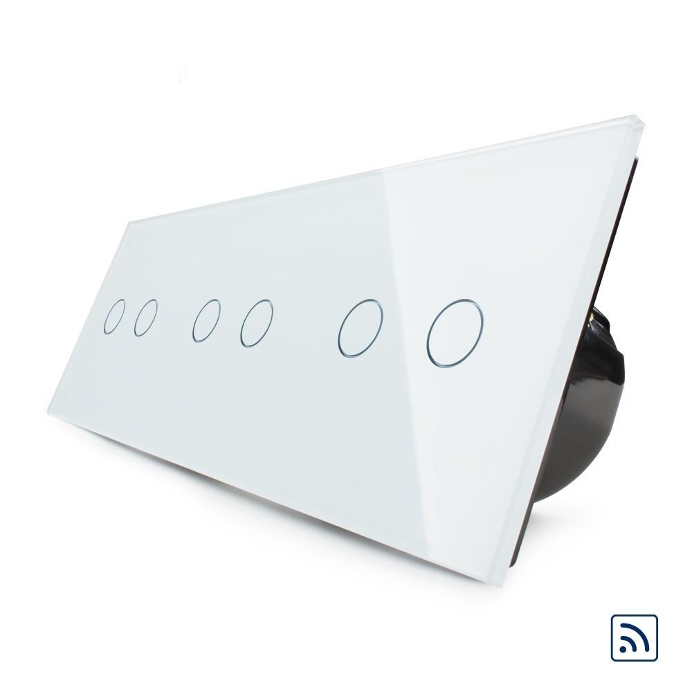2019 стандарт ЕС, беспроводной переключатель, роскошный настенный тройной сенсорный и дистанционный переключатель, VL C706R 11, с белой кристалли...