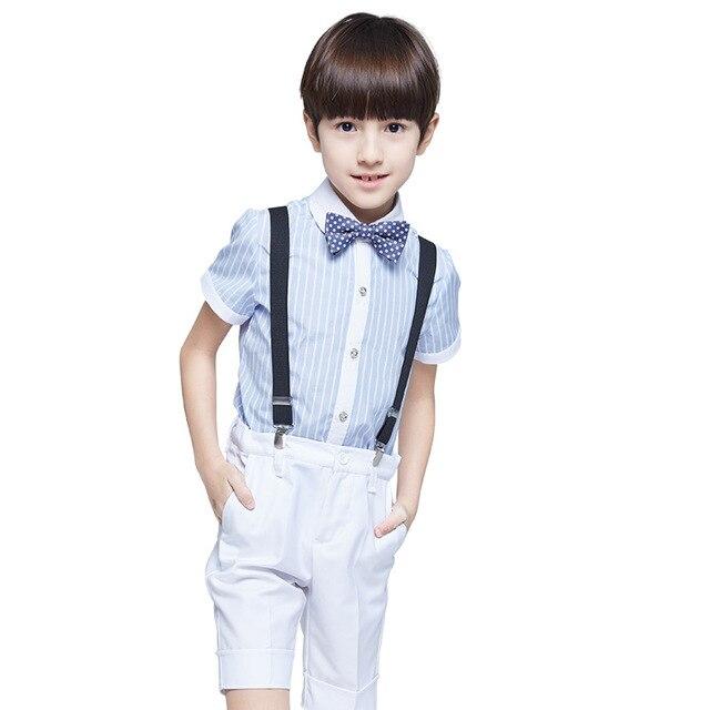 男の子は結婚式ブルーストライプ子供スーツ赤ちゃん夏セット衣装ギャルソンマリアージュ4ピース
