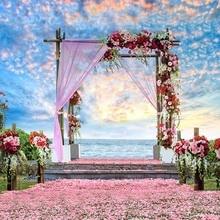 Vinyl Photography Background  Computed Printed Flower Door Ocean Wedding Backdrops for Photo Studio CM-5949