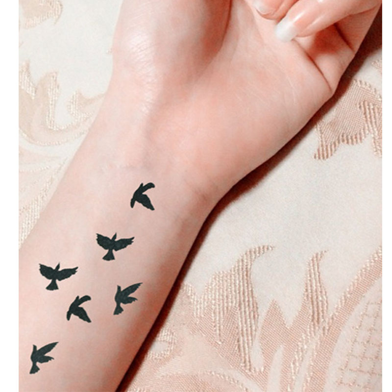 Women Sexy Finger Wrist Flash Fake Tattoo Stickers Liberty Small Birds Fly Design Waterproof Temporary Tattoos Sticker