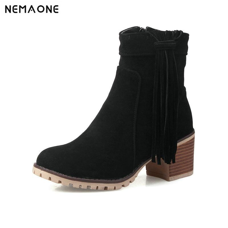 Frauen Schuhe Humorvoll Nemaone Neue Ankle Frauen Dicke High Heels Damen Schuhe Herbst Winter Quaste Frau Stiefel Schwarz Grau Gelb Plus Größe 43