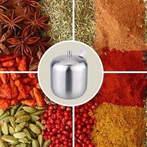 Image 2 - Przechowywanie w domu ze stali nierdzewnej przybory i akcesoria kuchenne dozownik do sosów w kształcie bębna pojemnik na kawę cukrową z łyżeczką