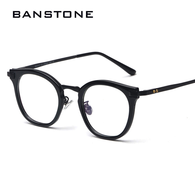 d7e83f1ba776 BANSTONE Fashion Eye Frames Men Retro Round Eyeglasses Men Cool Nerd Glasses  Computer Glass Frame Women Eyewear Oculos grau
