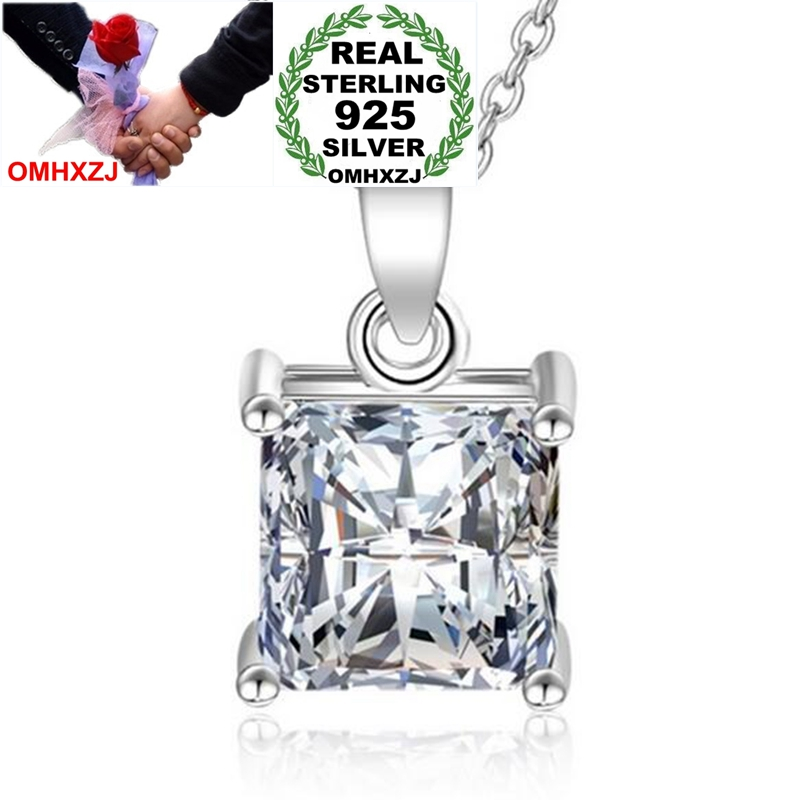 OMHXZJ Wholesale Fashion Classic OL Woman Gift Ice Cube White Zircon 925 Sterling Silver Pendant Charms PE147 NO Chain Necklace