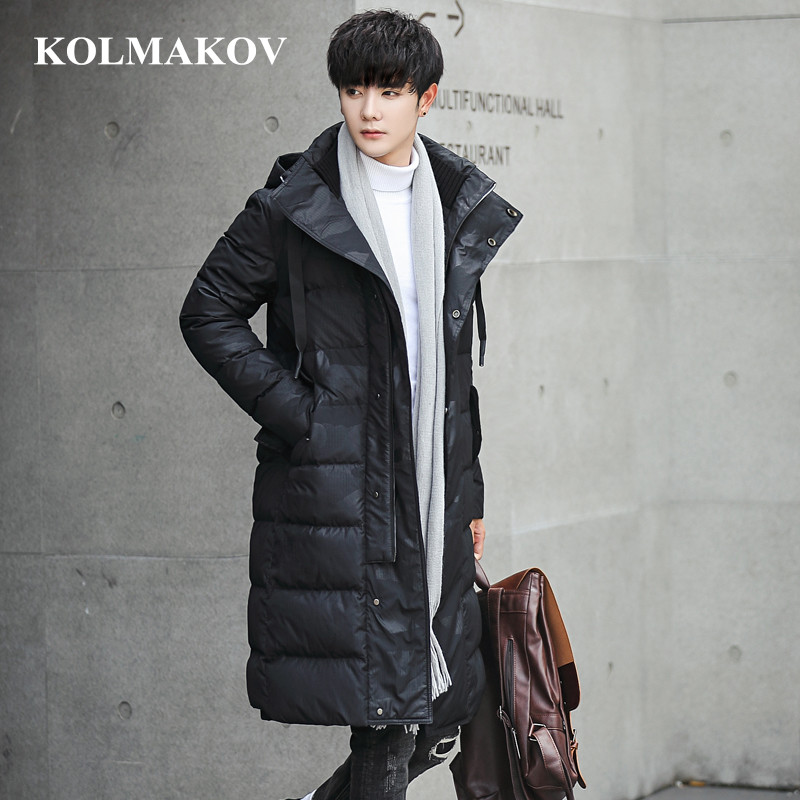 New Men's Duck   Down     Coats   2018 Winter Mens Long 85% White Duck   Down   Jackets Men Slim Fit Thick Hiking Overcoats Masculino L-4XL