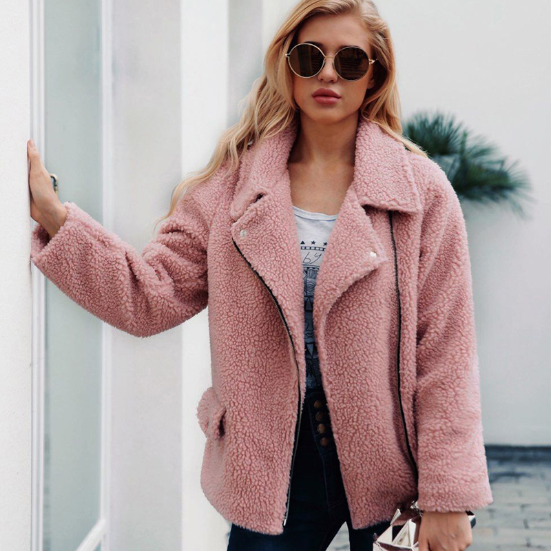 247a250c893a8 Plus Size 2018 Fashion Women Faux Lamb Wool Jacket Long Sleeve Zipper  Pocket Autumn Winter Female Streetwear Outerwear Coat   My Shop Name