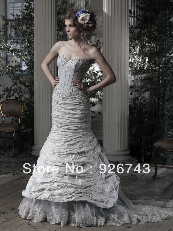 Online Shop Gorgeous Sweetheart Neckline Mermaid Grey Taffeta ...