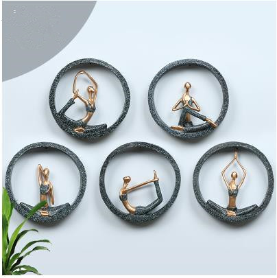 Décorations murales, figurines de modèle de studio de yoga, artisanat de tentures murales de fond créatif, pendentifs stéréo de mur de chambre