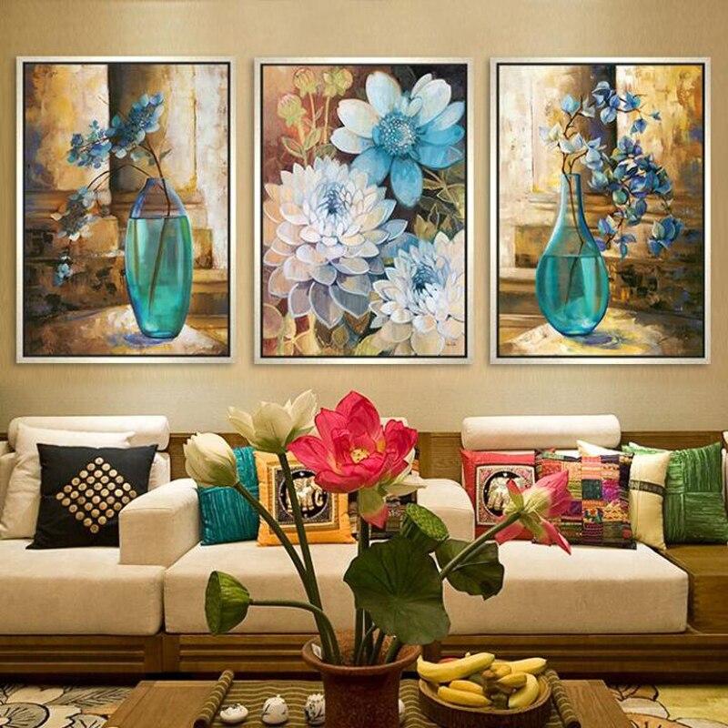 Zlatá panna, Vyšívání, DIY Křížový steh DMC, Rostlina, Váza, Sady pro vyšívání Sada 9ks 11ks tištěné bavlněné hedvábné nitě květ