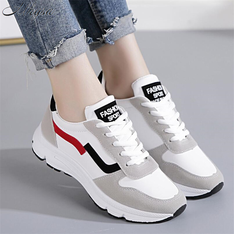 Mhysa 2019 New Women Sneakers Spring Vulcanized Shoes Ladies Casual Shoes Lightweigh Breathable Flat Shoes Tenis Feminino T240